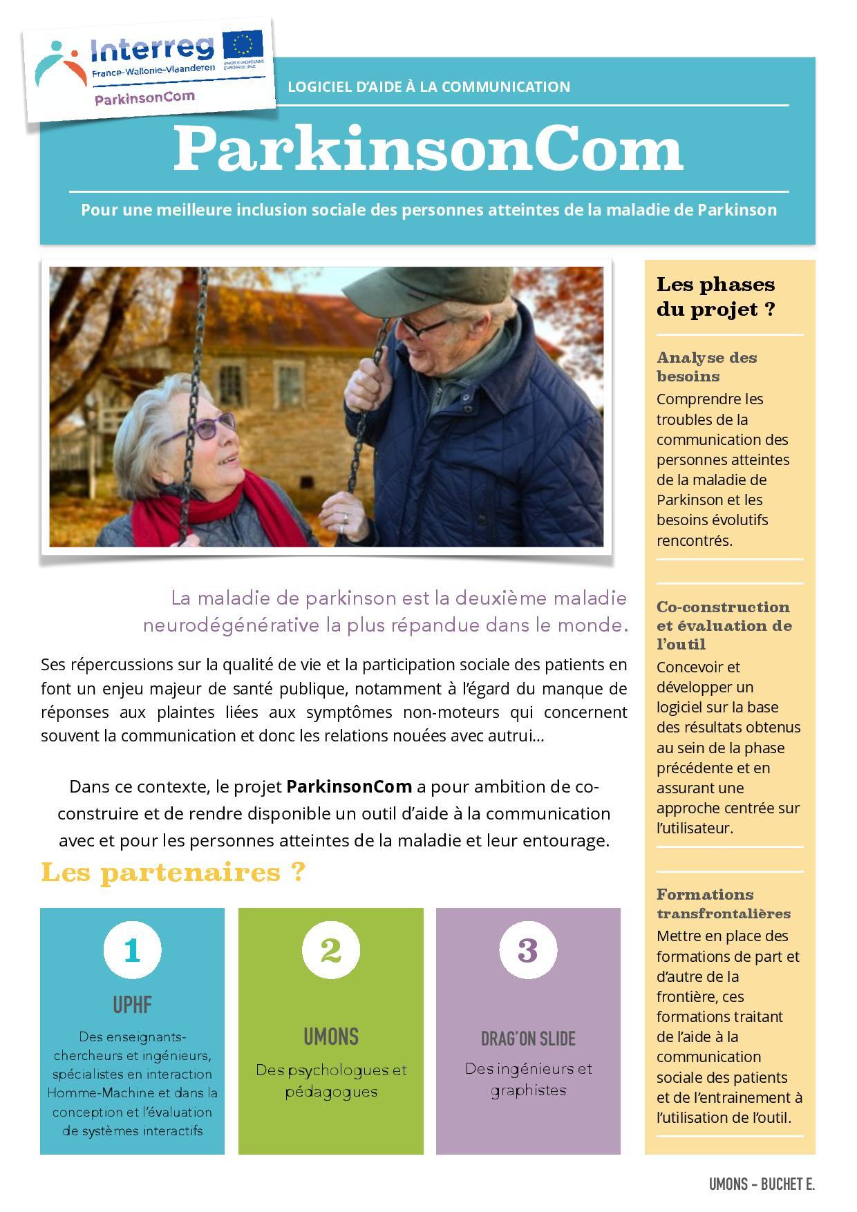 L'association Parkinson asbl participe au projet européen « ParkinsonCom » relatif à la réalisation d'un logiciel d'aide à la communication !